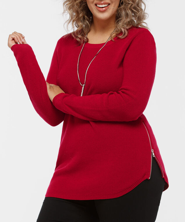 Scoop Neck Zipper Detail Sweater, Crimson, hi-res