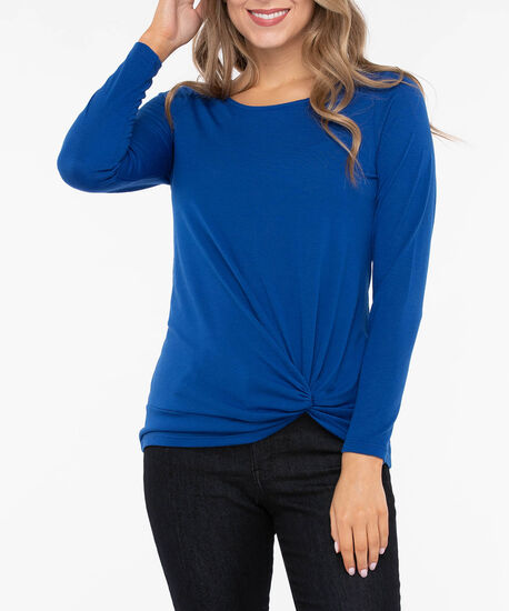 Long Sleeve Knot Front Top, Bright Blue, hi-res