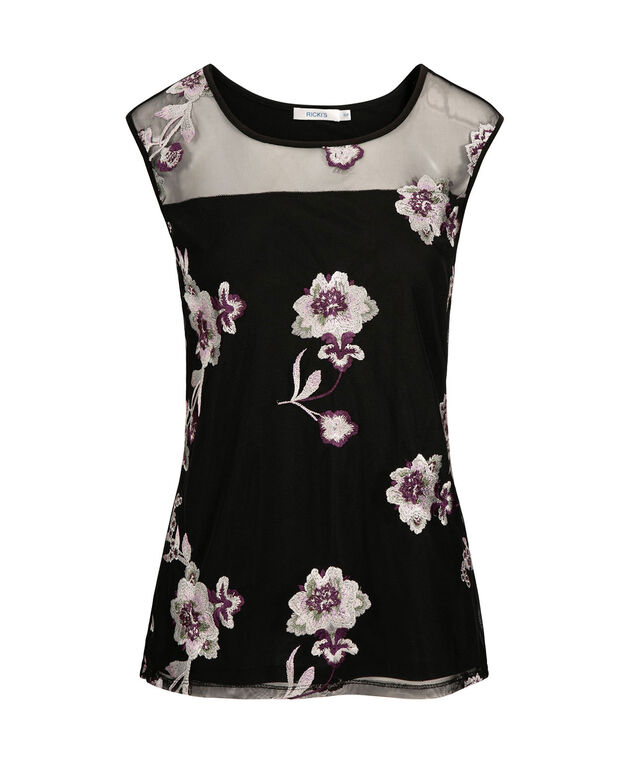 Sleeveless Embroidered Illusion Neck Top, Black/Blackberry, hi-res