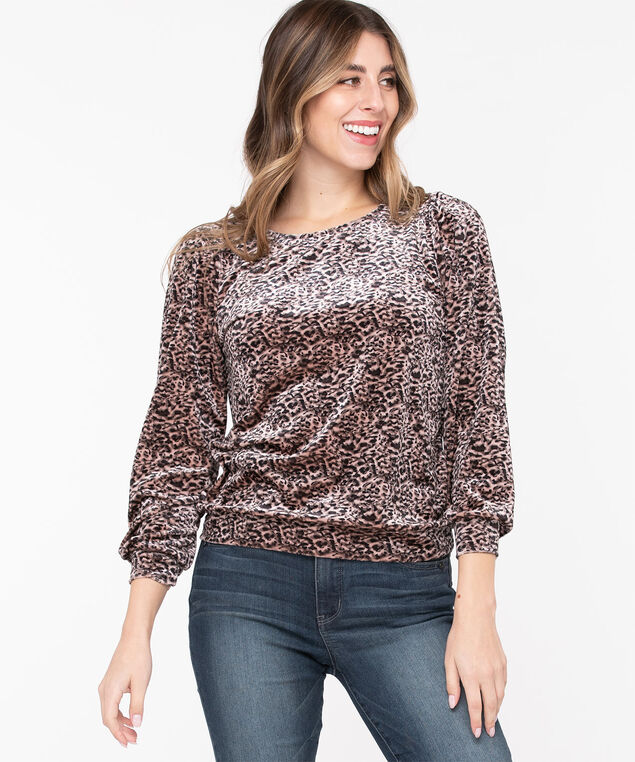 Velour Puff Sleeve Top, Black/Misty Rose