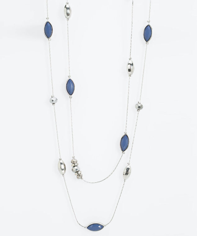 Dual Strand Stationed Bead Necklace, Rhodium/Steel Blue, hi-res