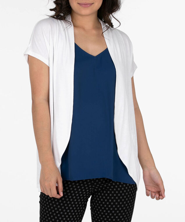 Short Sleeve Rounded Open Cardigan, True White, hi-res