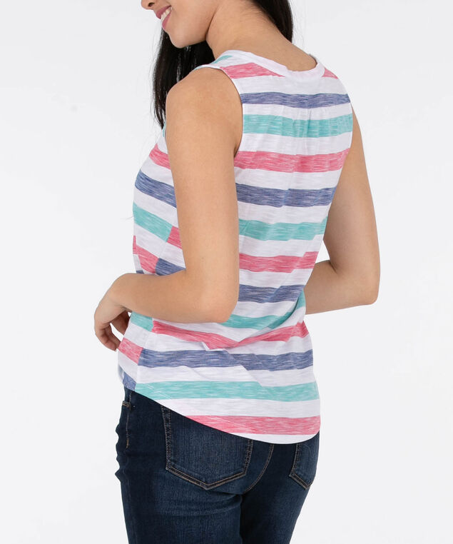 Sleeveless Henley Tee, White/Blue/Aqua/Watermelon, hi-res