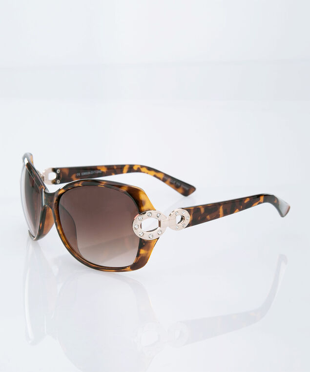 Crystal Trim Tortoise Print Sunglasses, Brown/Gold, hi-res