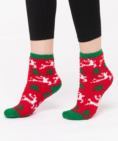 Festive Reindeer Plush Sock, Red/White/Green, hi-res