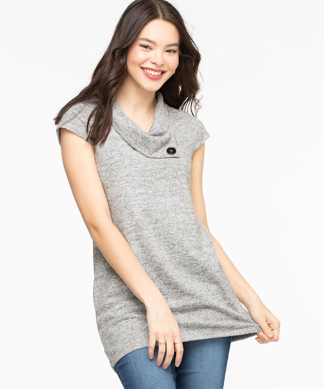 Split Neck Lightweight Knit Tunic, Light Grey Mix