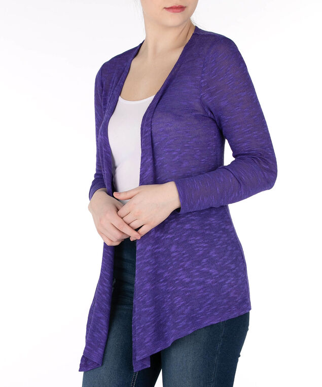 Open Stitch Slub Cardigan, Violet, hi-res