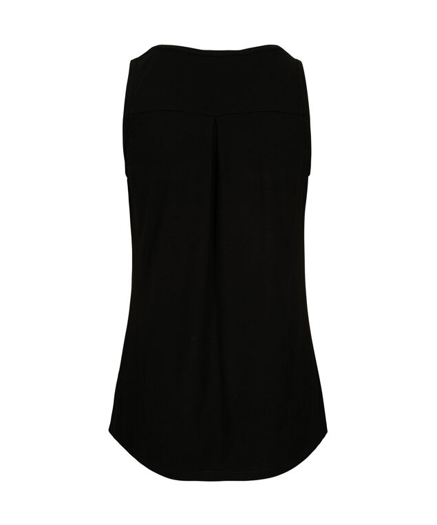 Sleeveless Zip Front Henley Top, Cobalt/Black, hi-res