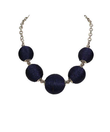 Thread Wrapped Ball Statement Necklace, Indigo/Rhodium, hi-res