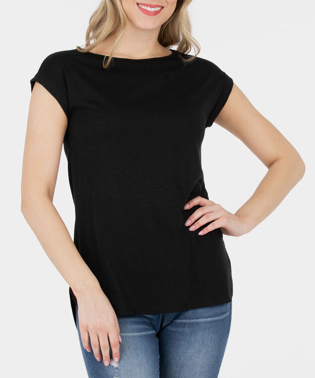 Roll Cuff Extended Sleeve Top, Black, hi-res