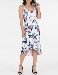 Strappy Flounce Hem Scuba Dress