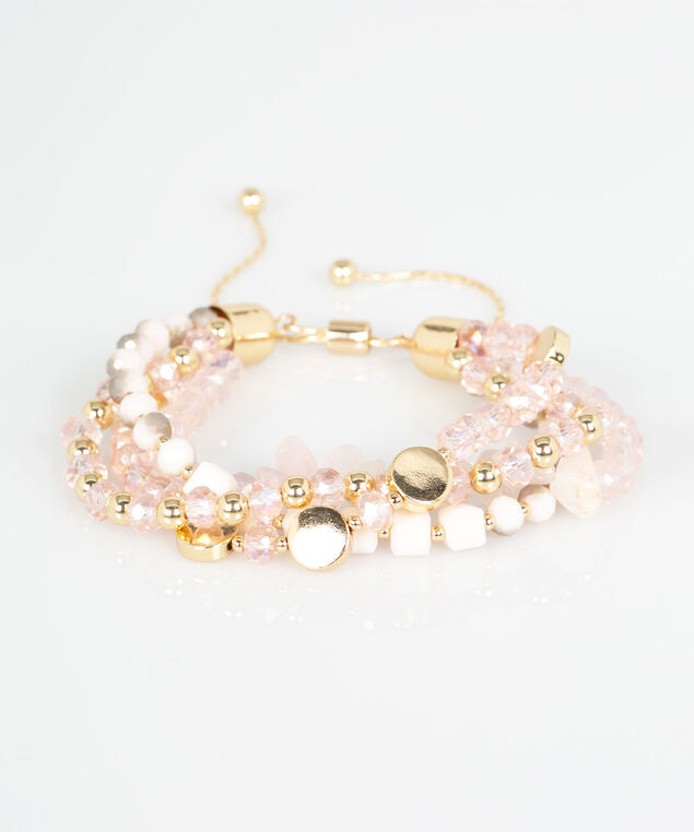 Multi Row Beaded Bracelet, Rose Petal/Pearl/Gold, hi-res