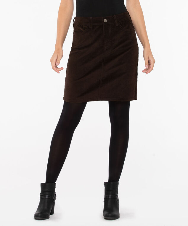 Fly Front Corduroy Mini Skirt, Brown, hi-res