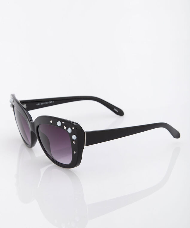 Pearl & Crystal Cateye Sunglasses, Black, hi-res