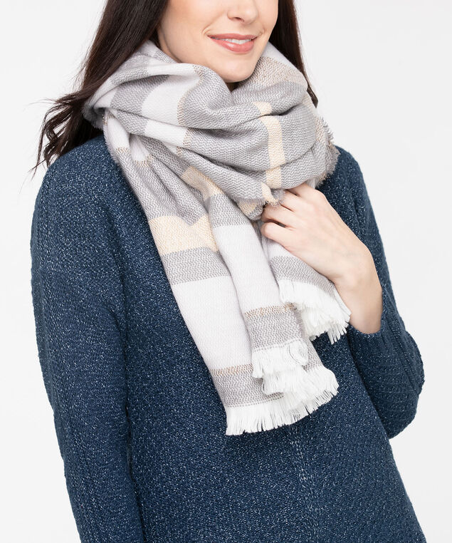 Frayed Edge Colourblock Blanket Scarf, Pearl/Grey/Gold, hi-res