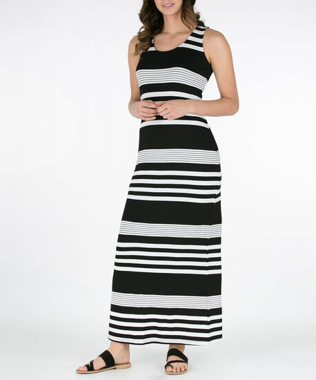 Striped Crochet Back Maxi Dress, Black/White, hi-res