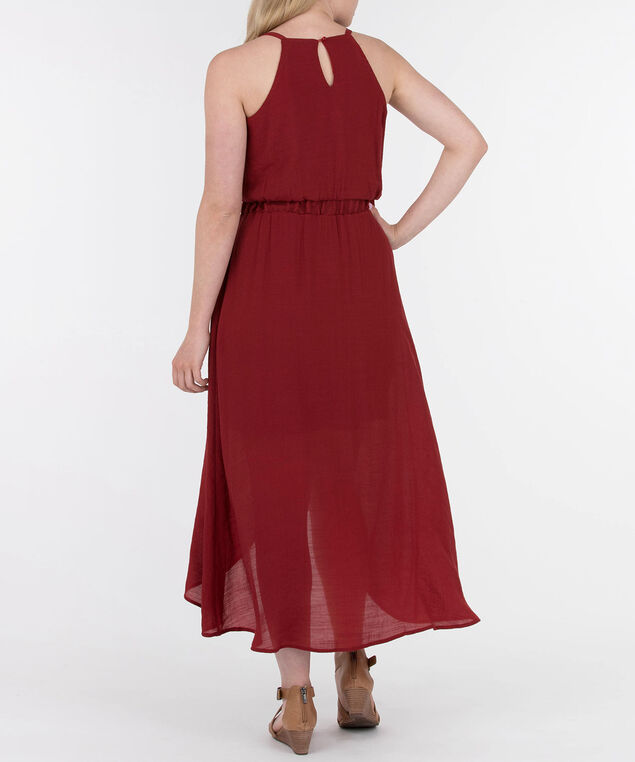 High-Low Halter Maxi Dress, Rust, hi-res