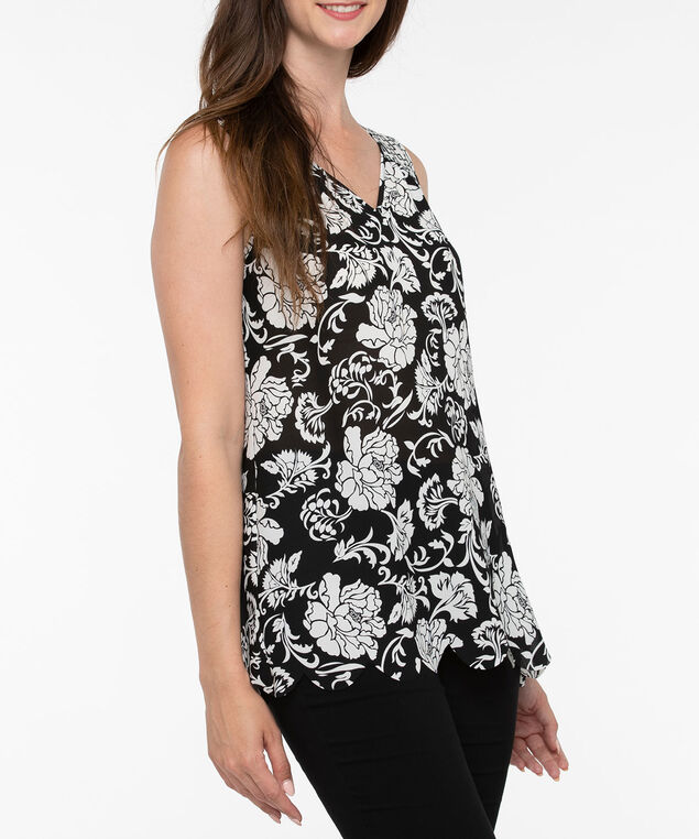 Sleeveless Scalloped Hem Blouse, Black/Pearl, hi-res