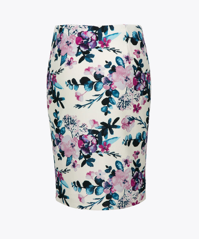 Floral Pencil Skirt, White/Violet/Pink/Blue, hi-res