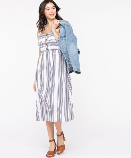 Striped Button Front Smocked Dress, Grey/Pearl, hi-res