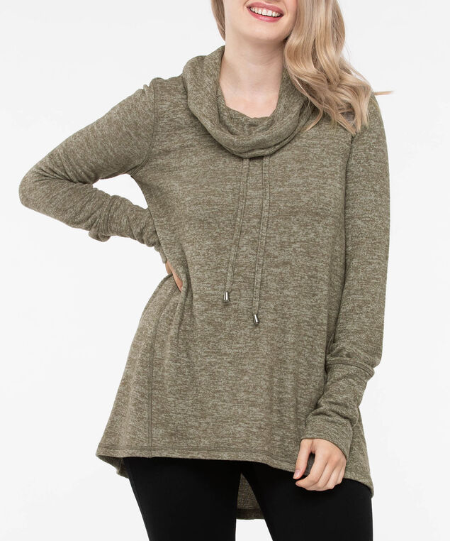 Drawstring Cowl Neck Button Detail Pullover, Autumn Olive, hi-res