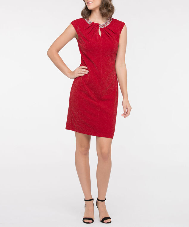 Beaded Keyhole Neck Shimmer Dress, Crimson, hi-res
