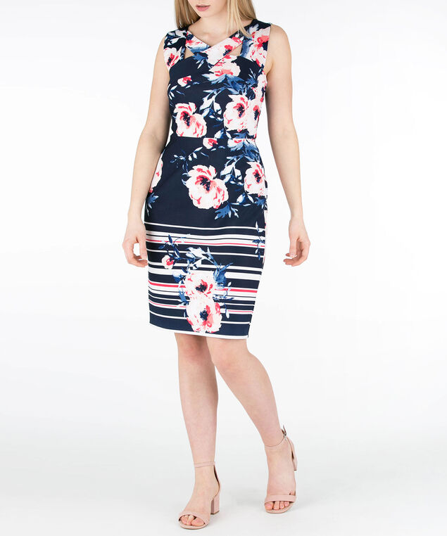 Cross-Neck Border Print Dress, Navy/Coral, hi-res