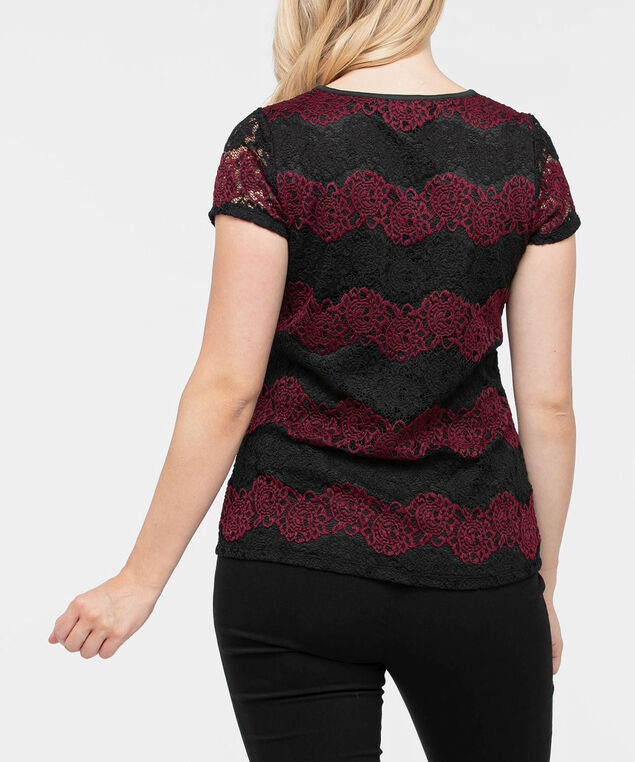 Short Sleeve Lace Overlay Top, Black/Burgundy, hi-res