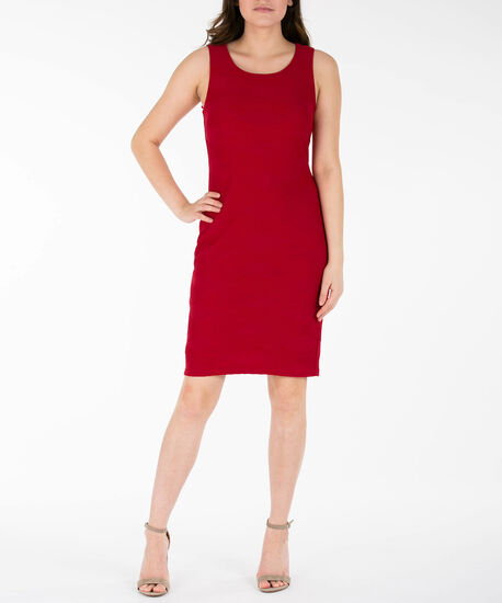 Sleeveless Textured Sheath Dress, Poppy, hi-res
