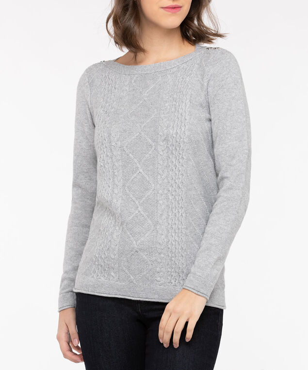 Button Boatneck Cable Front Pullover, Light Heather Grey, hi-res