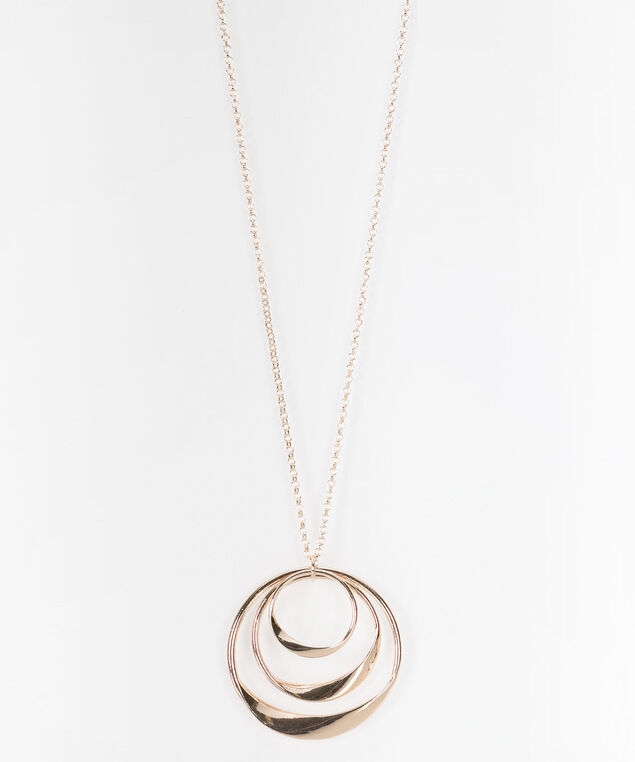 Twisted Circle Trio Necklace, Rose Gold, hi-res
