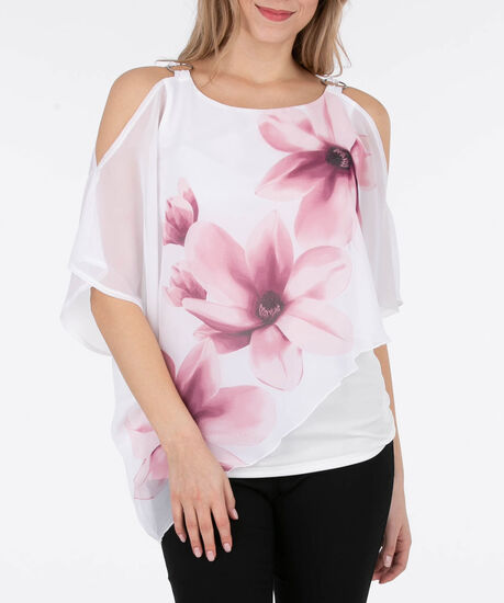 Cold Shoulder Cape Overlay Top, White/Cameo Pink, hi-res
