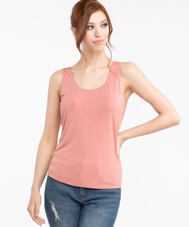 Double Layer Smoothing Cami, Dusty Rose
