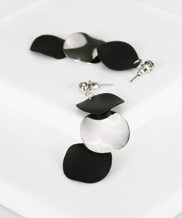Soft Matte & Silver Disc Earring, Rhodium/Black, hi-res