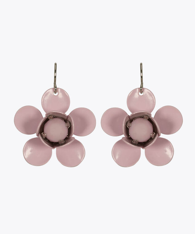Painted Metal Flower Drop Earring, Pastel Pink, hi-res