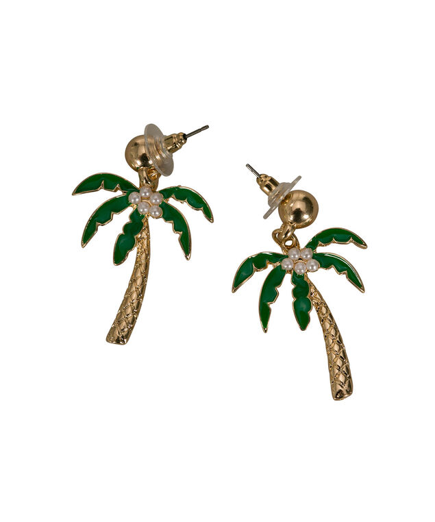Palm Tree Drop Earring, Green/White/Gold, hi-res