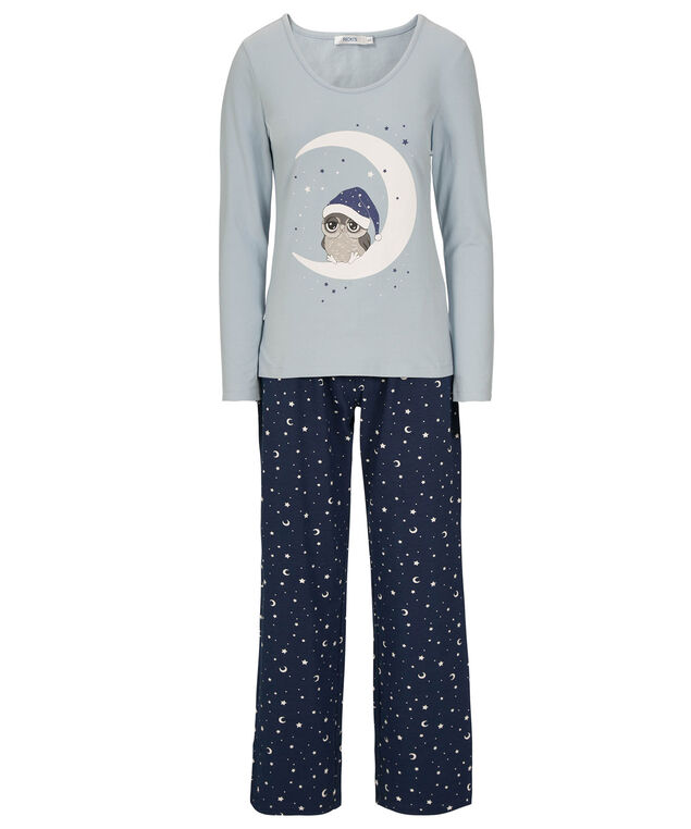 Sleepy Owl Pajama Set, Light Blue/White/Deep Sapphire, hi-res