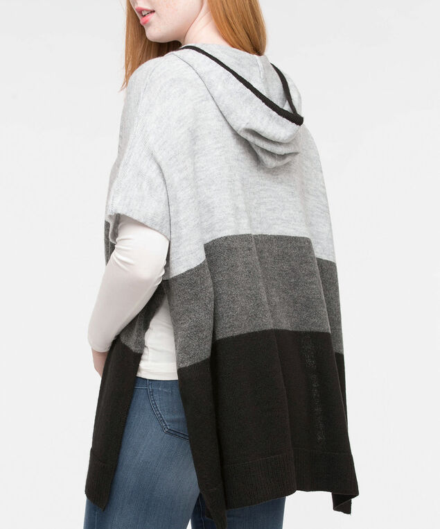 HOODED SWEATER PONCHO, Grey/Black, hi-res