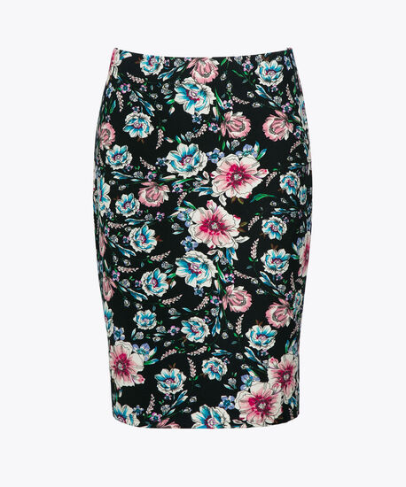 Scuba Crepe Pencil Skirt, Navy/Pink/Teal, hi-res