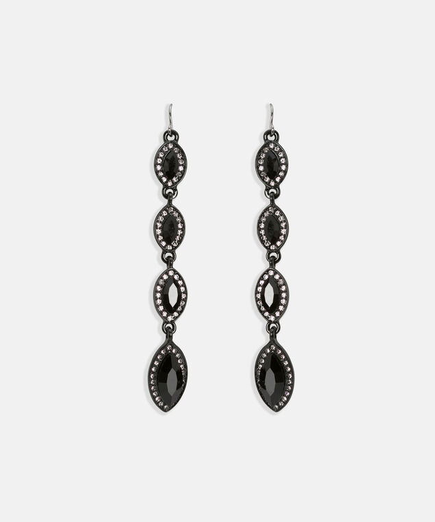 Faceted Stone & Crystal Leaf Earring, Black, hi-res
