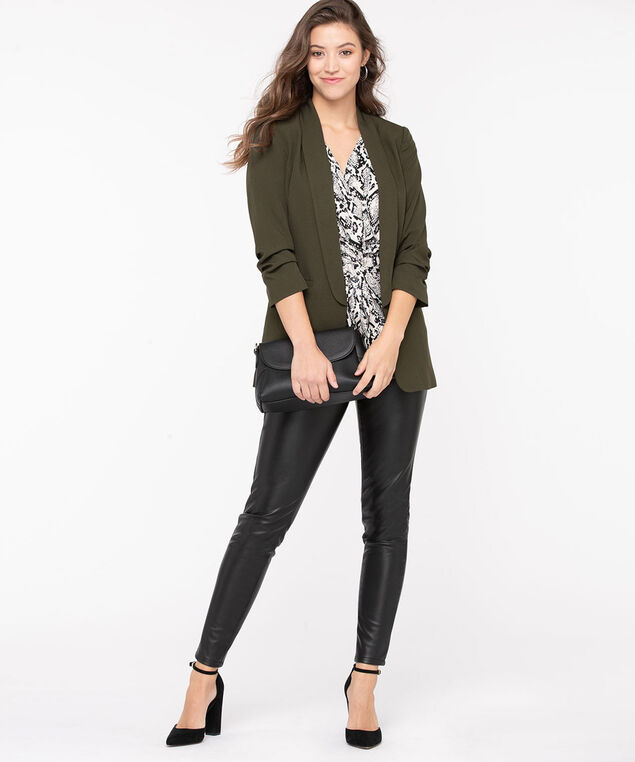 Soft Woven Stretch Open Blazer, Olive Night, hi-res