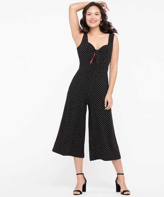 Polka Dot Bow Front Jumpsuit, Black/Bellini/Pearl, hi-res