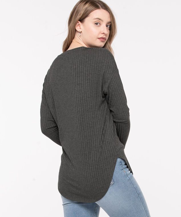 Ribbed Button Front Long Top, Charcoal