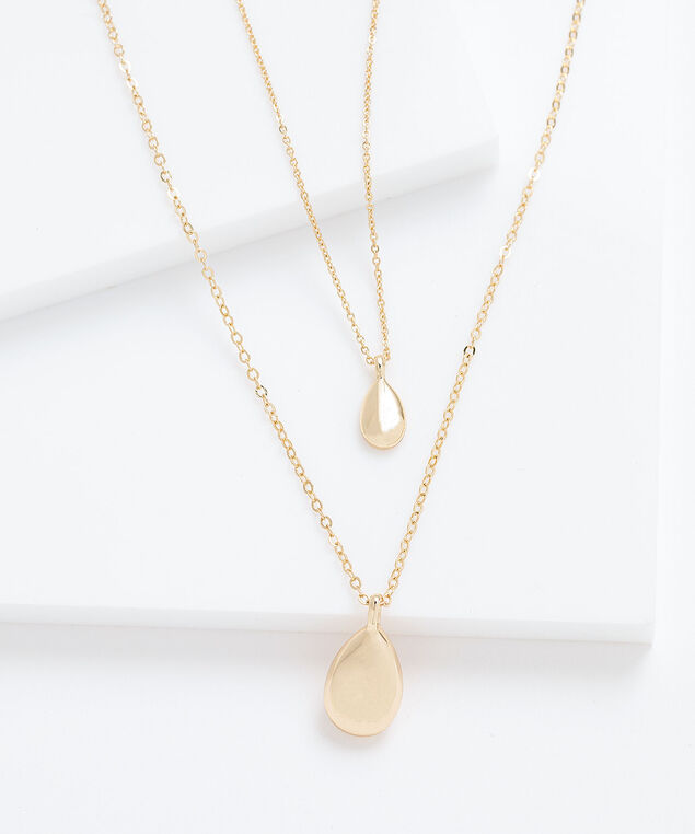 Layered Teardrop Pendant Necklace, Gold