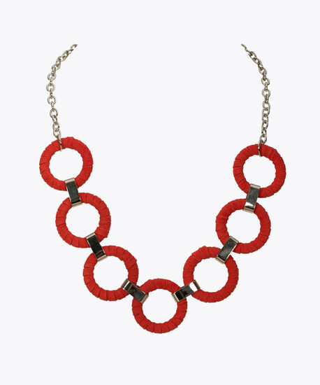 Fabric Wrapped Hoop Statement Necklace, Poppy, hi-res