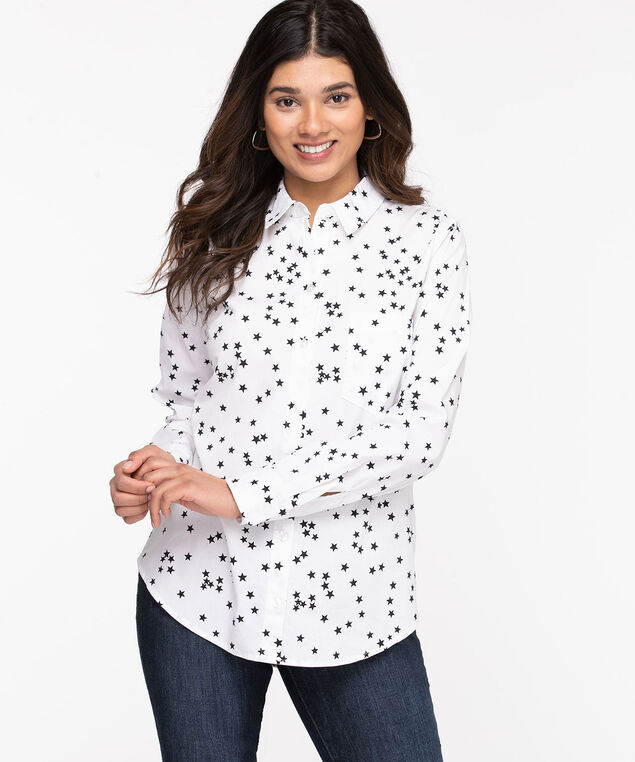Classic Collared Button-Up Shirt, Snow White/Black Stars