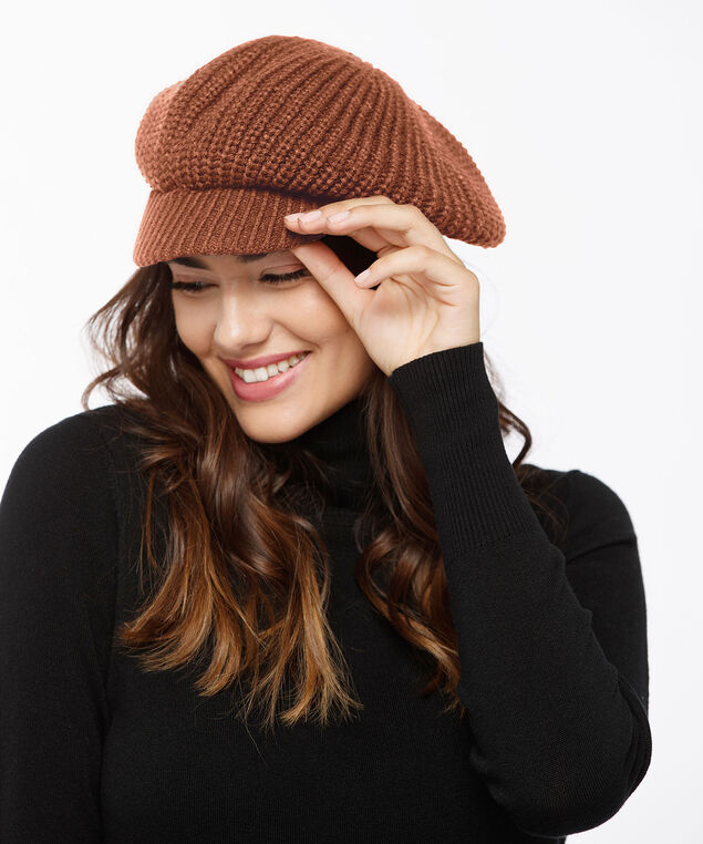 Chunky Knit Cabbie Hat, Pumpkin, hi-res