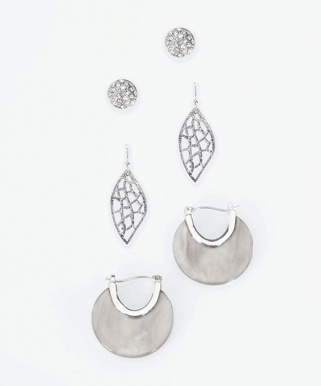 Trio Earring Set, Rhodium/Mid Heathered Grey, hi-res