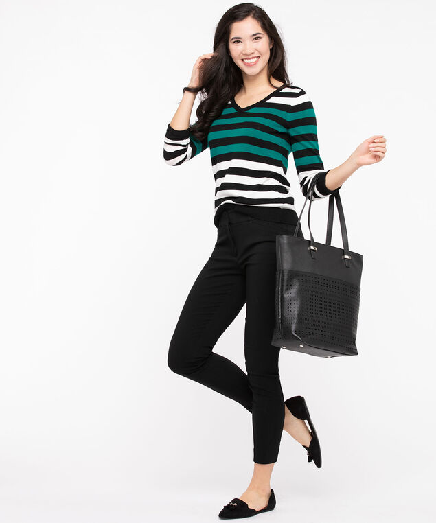 Striped V-Neck Pullover Sweater, Black/Pearl/Jade, hi-res