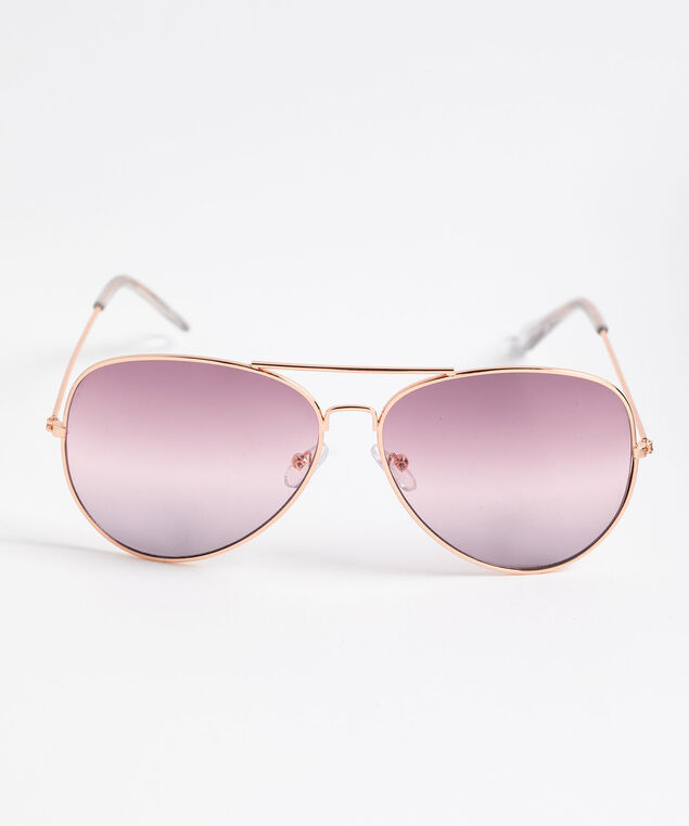 Rose Gold Aviator Sunglasses, Pink, hi-res
